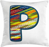 "Ambesonne Letter P Throw Pillow Cushion Cover, P Letter Alphabet Boho Style Calligraphy Vibrant Baby Nursery Theme, Decorative Square Accent Pillow Case, 20"" X 20"", Night Blue Yellow Red"