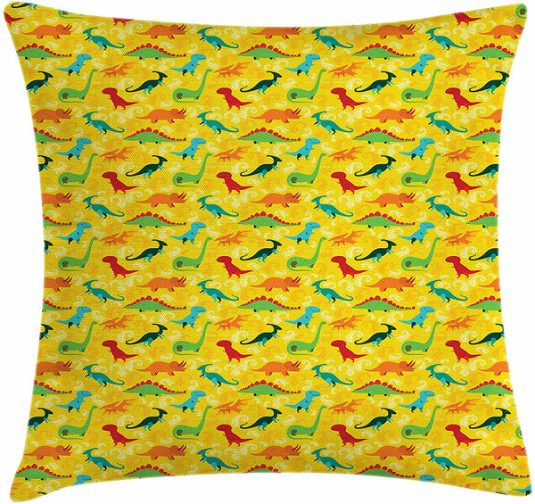 "Printawe Dinosaur Party Throw Pillow Cushion Cover, Various Type of T-Rex in Colors Baby Shower Boys Baby Kids Nursery Concept, Decorative Square Accent Pillow Case, 16"" X 16"", Multicolor"