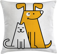 "Ambesonne Cartoon Throw Pillow Cushion Cover, Cats and Dogs Human Best Friends Forever Kids Nursery Room Art Print, Decorative Square Accent Pillow Case, 16"" X 16"", Black White and Apricot"