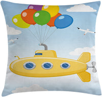 "Ambesonne Yellow Submarine Throw Pillow Cushion Cover, Blue Sky with Colorful Balloons Seagulls Clouds Nursery Kids Birds Art, Decorative Square Accent Pillow Case, 36"" X 36"", Multicolor"