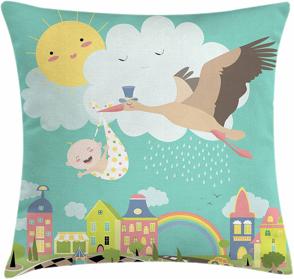 "Lunarable Baby Shower Throw Pillow Cushion Cover, Cartoon Stork Delivering Newborn to The Town Nursery Theme Rainbow and Sun, Decorative Square Accent Pillow Case, 26"" X 26"", Multicolor"