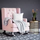 Best Choice Products Tufted Luxury Velvet Wingback Rocking Accent Chair, Living Room, Bedroom w/Wood Frame - Blush Pink