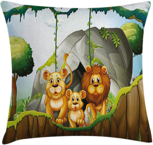"Lunarable Forest Throw Pillow Cushion Cover, Lion Family in The Jungle Woods King Zoo Nursery Illustration, Decorative Square Accent Pillow Case, 36"" X 36"", Apricot Chocolate Hunter Green"