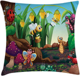 "Ambesonne Animal Throw Pillow Cushion Cover, Ladybug Butterfly Bee in Exotic Garden Botany Kids Nursery Themed Cartoon Art, Decorative Square Accent Pillow Case, 36"" X 36"", Multicolor"