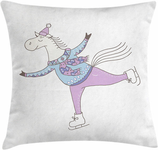 "Lunarable Horse Throw Pillow Cushion Cover, Ice Skating Funny Character Winter Clothes Minimalist Scandinavian Style Nursery Art, Decorative Square Accent Pillow Case, 26"" X 26"", Multicolor"