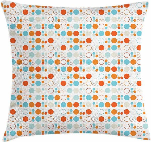 "Ambesonne Geometric Throw Pillow Cushion Cover, Simplistic Colorful Circles Rings Ovals Rounds Baby Nursery Kids Playroom Design, Decorative Square Accent Pillow Case, 18"" X 18"", Multicolor"