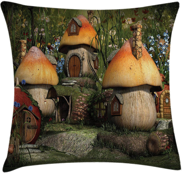 "Ambesonne Nature Throw Pillow Cushion Cover, Mushroom Houses in Forest Fairy Tale Fantasy Wonderland Dwarf Kid Nursery Theme, Decorative Square Accent Pillow Case, 16"" X 16"", Multicolor"