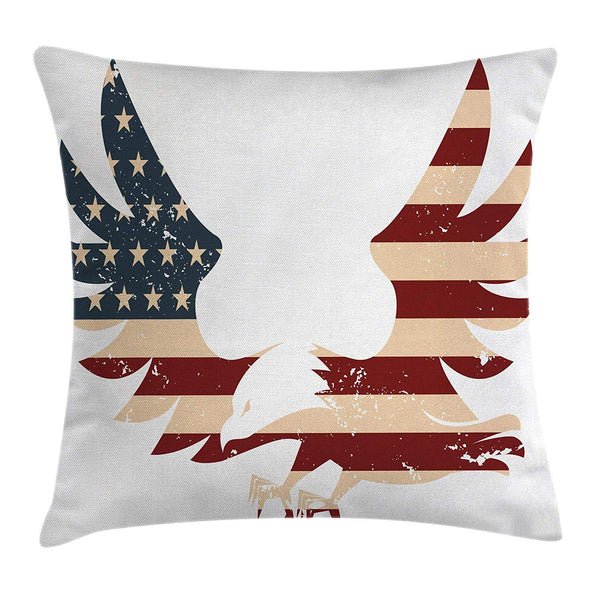 American  Pillow Cover Patriotic Themed Home Brave Land Free USA Bold Eagle Flag Square Accent Pillow Case Red Blue White