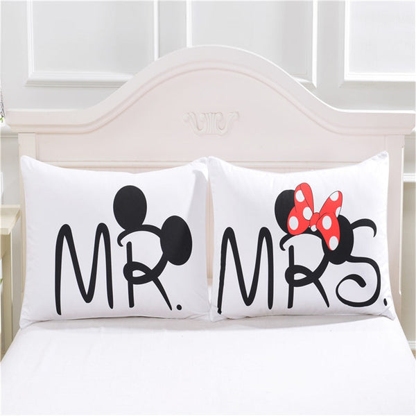 Minnie Mickey Mouse Love Pillowcases Home Textile 2Pcs White Couple Pillow Cover Decorative Pillows Case Living Room 50x75cm
