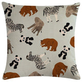 Animal Pattern Pillow Cases With Zipper Square Canvas Accent Pillow Sham For  45 X 45 Cm  Case