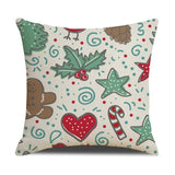 Christmas Cotton Linen Square Throw Pillow Cover Merry Christmas Decorative Pillowcase Cushion Accent