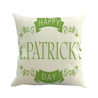 St. Patricks Day Decorative Cushion Decor Accent Pillow Pillowcase Throw Home Green Linen Cover Home Case Cotton Cushion