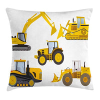 Throw Pillow Cushion Cover  Heavy Machinery Drawing Construction Cartoon Bulldozer Print, Decorative Square Accent Pillow Case,