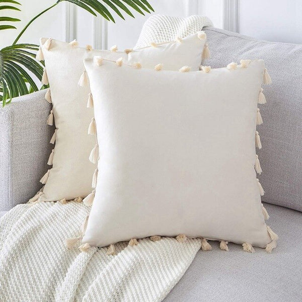 Pack of 2 Velvet Soft Solid Christmas Decorative Throw Pillow Cover with Tassels Fringe Boho Accent Cushion Case for Couch Sofa