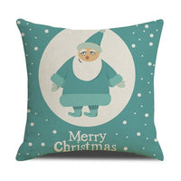 Cotton Linen Square Throw Pillow Cover Merry Christmas Decorative Pillowcase Cushion Accent For  Chair Bed