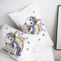 Custom Pillow Case Pillowcase 50x70 50x75 50x80 70x70 Decorative Pillow Cover Black unicorn Cartoon Bedding for Kids Baby Child