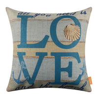 "LINKWELL Accent Pillow Cover 18""x18"" All you Need is Love and the Beach Quote Burlap Anchor Seastar Cushion Cover Shell Print"