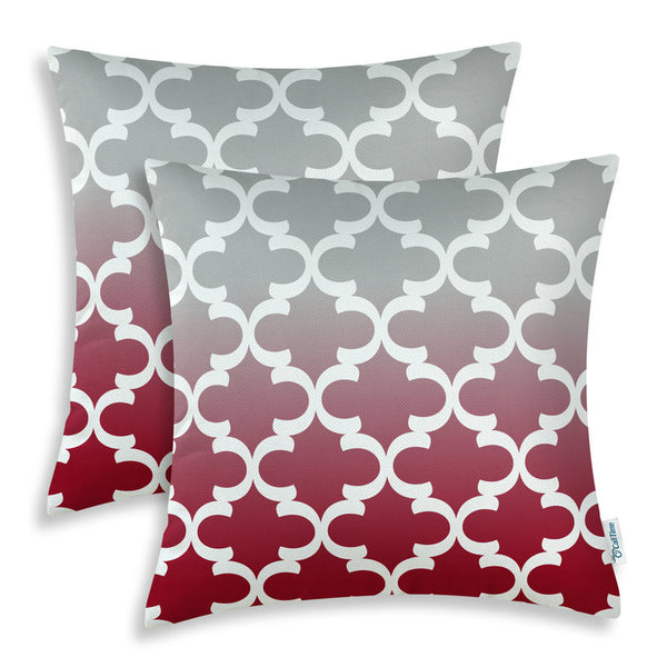 "2PCS Square CaliTime Cushion Cover Pillows Shell Gradient Quatrefoil Accent Geometric Burgundy Gray 18"" X 18""(45cm X 45cm)"