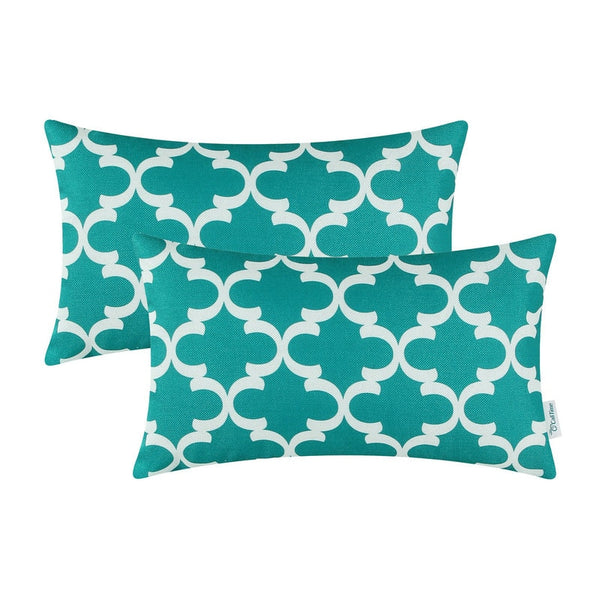 "2PCS Rectangle CaliTime Teal Cushion Cover Pillows Shell Quatrefoil Accent Geometric Home Sofa Decor 12"" X 20""(30cm X 50cm)"