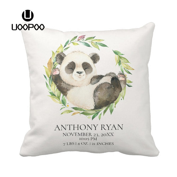 Custom Baby Pillow Case Sweet Panda Bear Print Pillow Case Polyester Cotton Canvas Pillow Cover Kids Pillowcase Customized Gift