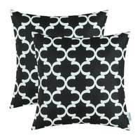 "2PCS Square CaliTime Cushion Cover Pillows Shell Quatrefoil Accent Geometric Home Sofa Decor 20"" X 20""(50cm X 50cm) Black"