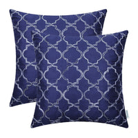 "2PCS CaliTime Faux Silk Throw Pillow Covers Cases for Home Couch Gradient Quatrefoil Accent Geometric Chain 18""X18"" Navy Blue"