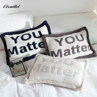 "iDouillet New Monogrammed ""YOU Matter"" Accent Throw Pillow Decorative Fall Cushion 46x31cm Nursery Bedroom Decor Christmas Gift"