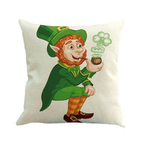St. Patricks Day Green Home Decor Throw Pillow Case Cushion Cover Cotton Linen Home Decorative Pillowcase Cushion Accent
