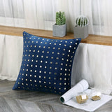 iDouillet Metallic Rivets Velvet Decorative Throw Pillow Case Accent Cushion Cover for Bed Sofa Couch Chair Home Square 45x45cm