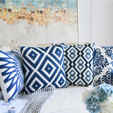 Junwell 2pc set Sofa Throw Pillows 18 x 18 inch Cotton All-over Embroidery Geometric Porcelain Accent Decorative Pillow Cushions