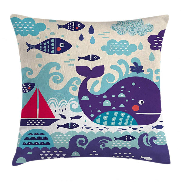 Ocean Animal  Throw Pillow Cover Marine Traffic Whale Sailboat Fish Cloud Waves Print Square Accent Pillow Case Purple