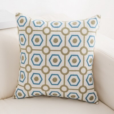 Junwell Sofa Throw Pillows 18 x 18 inch Cotton All-over Embroidery Geometric Circles Accent Decorative Pillow Cushions