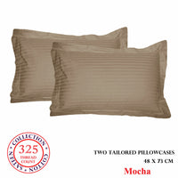 325TC 100% Pure Cotton PAIR of Self Stripe Standard Tailored Pillowcases