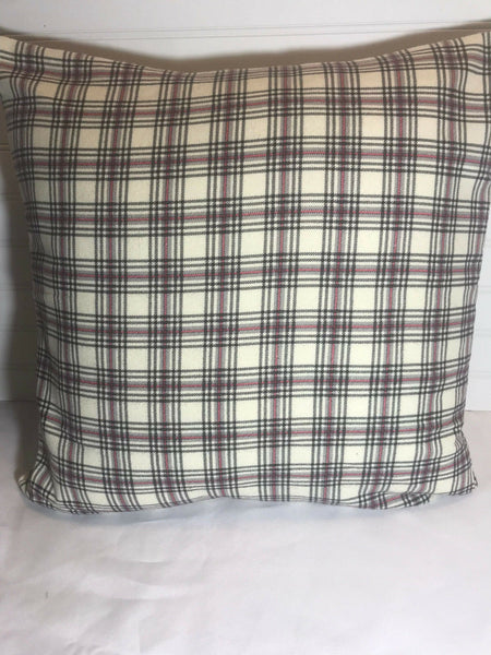 "Black Gray Red Off White Plaid /16"" x 16"" or 18""x18""/Flannel Accent Pillow Cover"