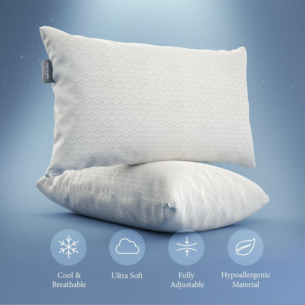 ▶Cosy House Shredded Memory Foam Pillow Adjustable Fit Washable Bamboo Cover