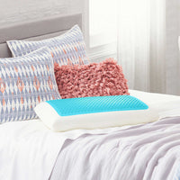 Comfort Revolution Blue Bubble Gel Memory Foam Pillow Removable Washable Cover