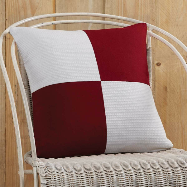 VHC Red and White Patchwork Throw Sofa Couch Accent Pillow Cover Case 18x18