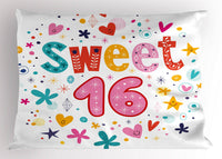 16th Birthday Pillow Sham Decorative Pillowcase 3 Sizes Bedroom Decor