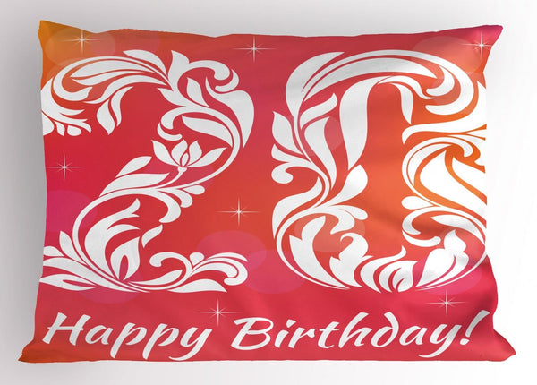 20th Birthday Pillow Sham Decorative Pillowcase 3 Sizes Bedroom Decor