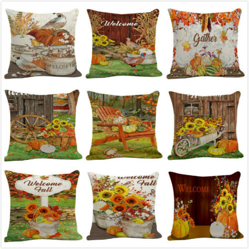 "18"" Pillow Covers Rustic Welcome Fall Pumpkin Autumn Season Decor Cushion Case"