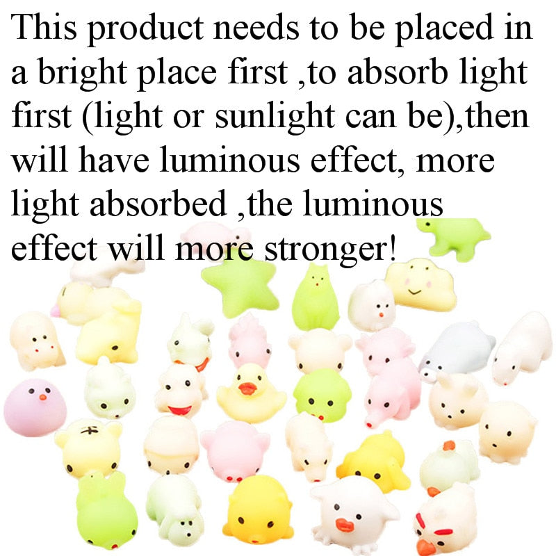 1/2/5 Pcs Cute Mini Luminous Mochi Cat Toys