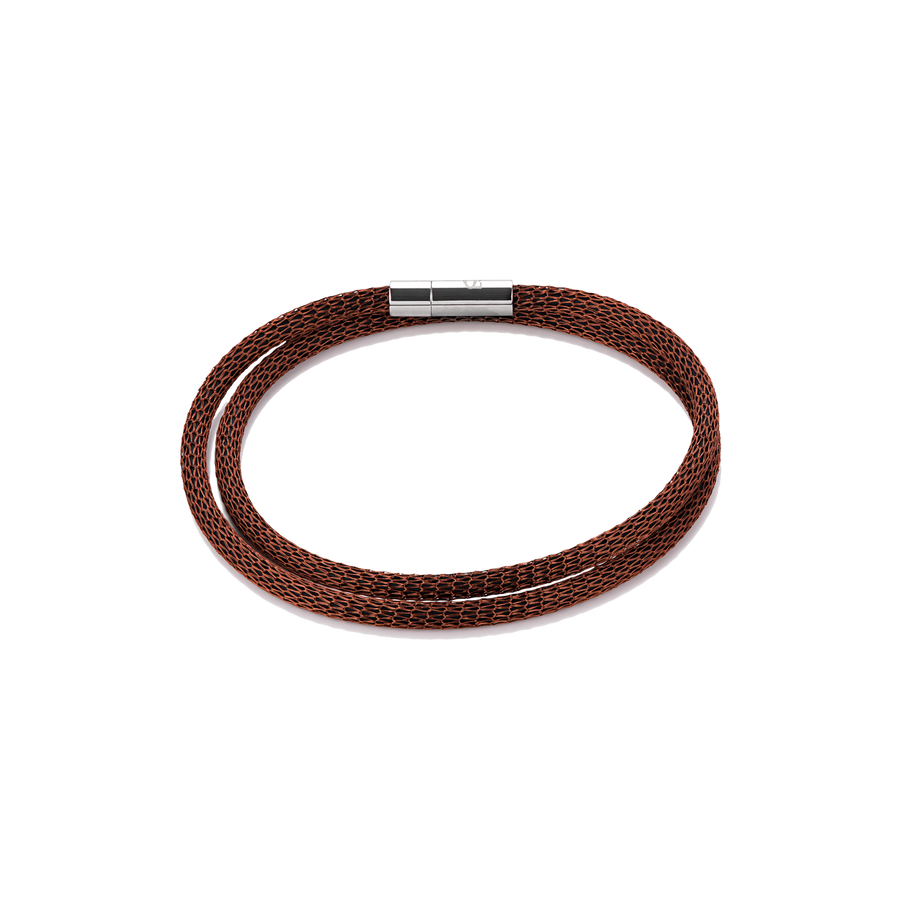 Bracelet mesh silver-coated & enamelled brown