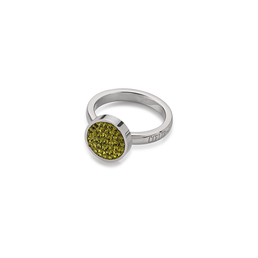 Ring rhinestone & stainless steel pave olive
