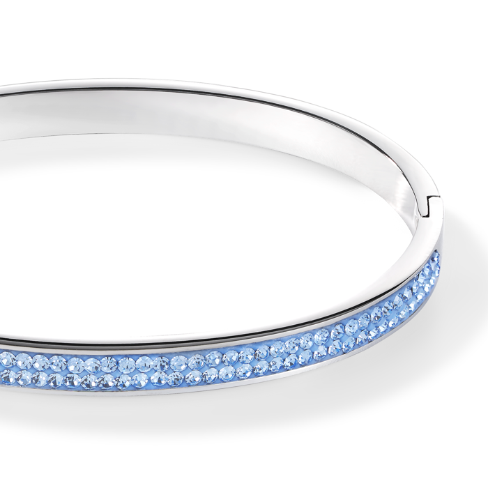 Bangle stainless steel & crystals pavé light blue 17