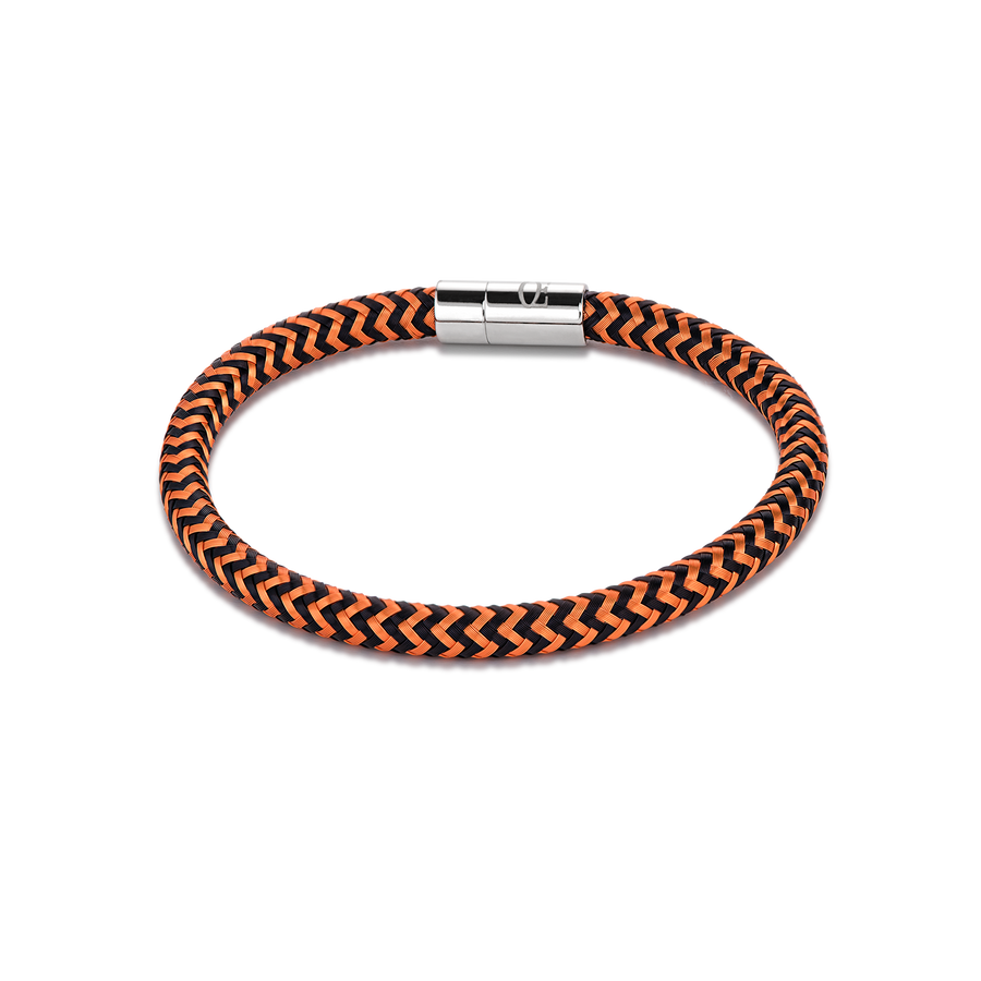 Bracelet metal braided orange-black