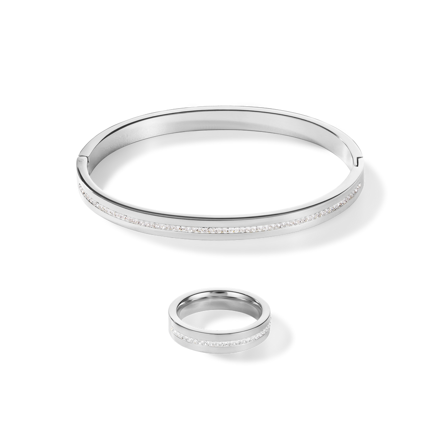 Bangle stainless steel & crystals pavé strip crystal