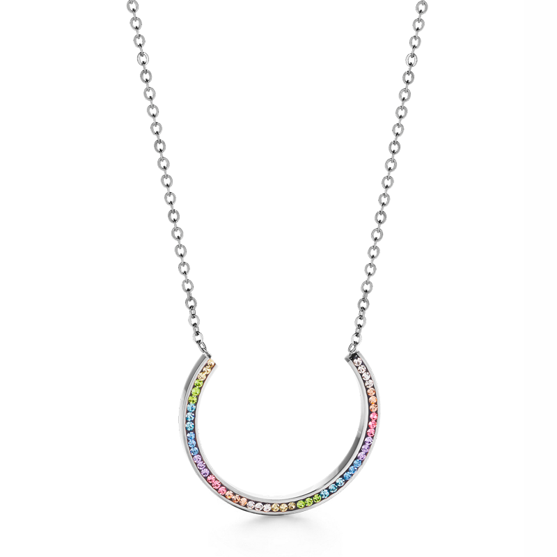 Necklace stainless steel with crystals pavé multicolour pastel