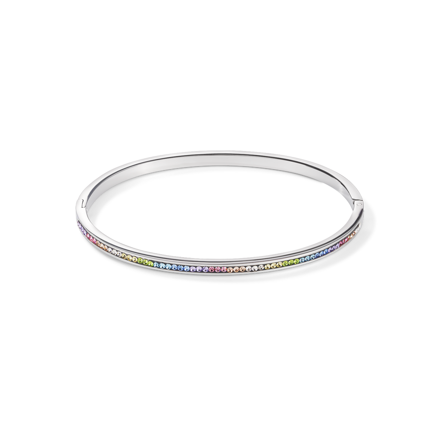 Bangle stainless steel & crystals pavé multicolour pastel 17