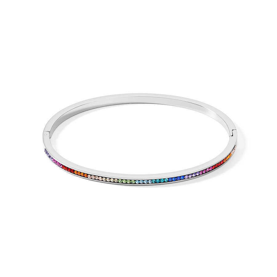 Bangle stainless steel silver & crystals pavé multicolour 19