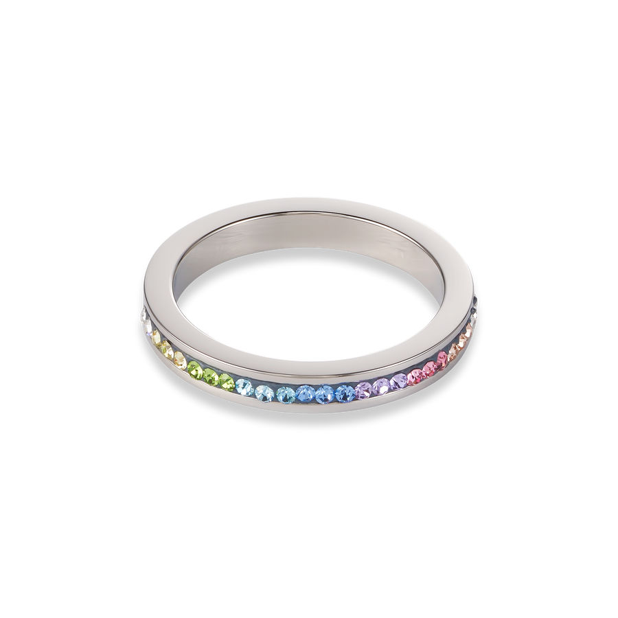 Ring stainless steel & crystals pavé multicolour pastel